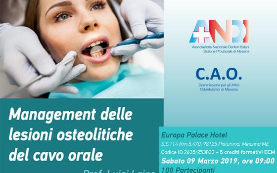 """Corso A.N.D.I. """"Management delle lesioni osteolitiche del cavo orale"""" Prof. Luigi Laino"""
